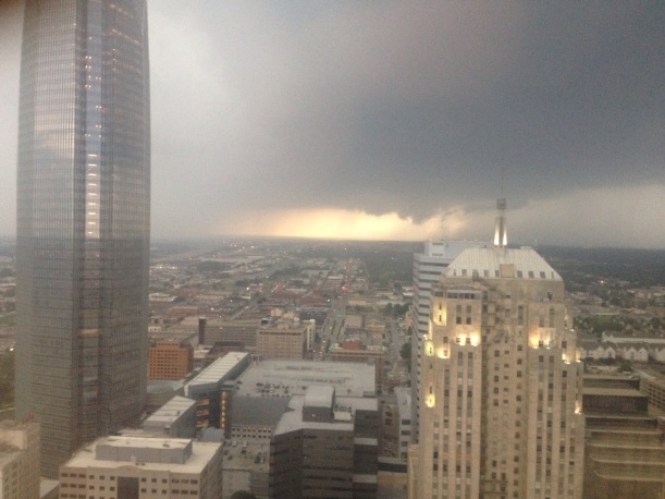This is the storm forming, as seen from the 32nd floor of Dave's building in downtown OKC.